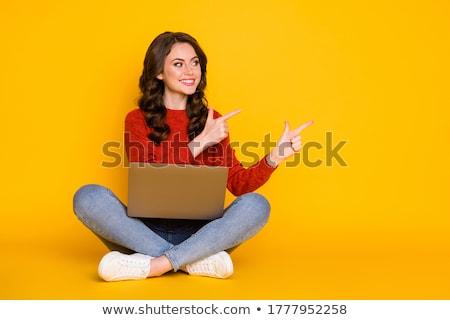 nő · mutat · netbook · laptop · izgatott · ül - stock fotó © maridav