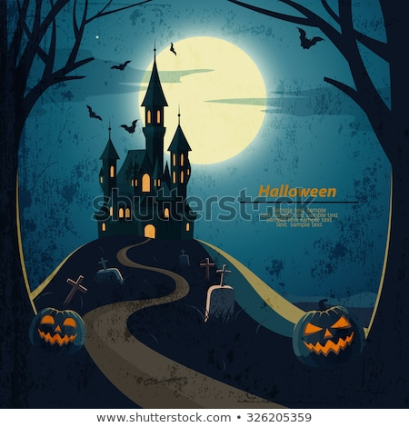 Grunge Spooky Halloween Castle Stock photo © kjpargeter