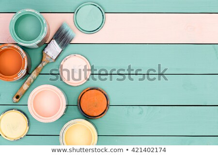 Background of floor boards, paint cans and brush Stock photo © ozgur