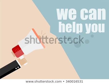 Konzerv segítség megafon kéz ír jelző Stock fotó © ivelin