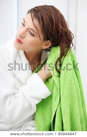 Káprázatos fiatal nő hosszú haj tiszta fehér törölköző Stock fotó © dash