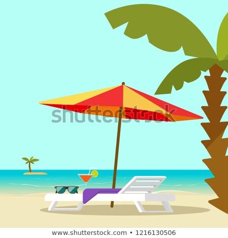 Krzesło drzewo ilustracja słońce liści zielone Zdjęcia stock © bluering