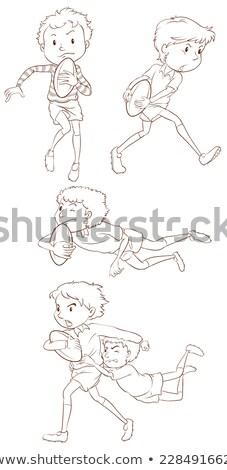 Proste rysunek chłopca gry rugby ilustracja Zdjęcia stock © bluering