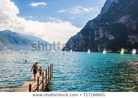 Pier mar lago pedra horizonte estrutura Foto stock © Digifoodstock