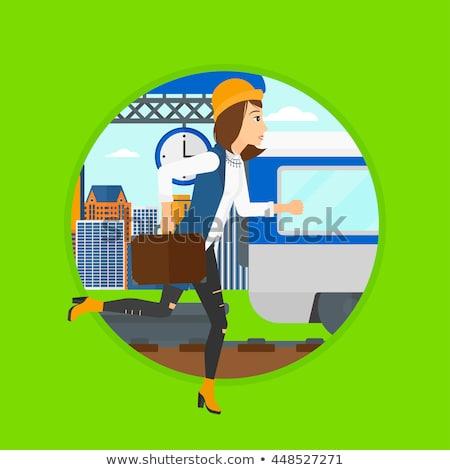 Frau läuft Plattform asian erreichen Zug Stock foto © RAStudio