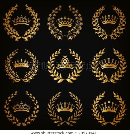 Stock fotó: Prémium · luxus · arany · virágmintás · szimbólum · keret