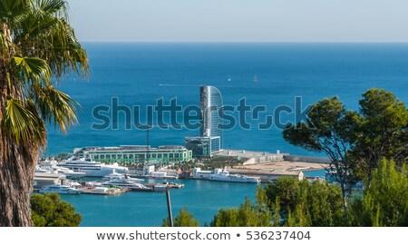 Barcelona · marina · luxus · jacht · kikötő · naplemente - stock fotó © artjazz