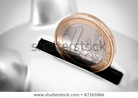 Depositing one euro coin into piggy coin bank Stock photo © stevanovicigor