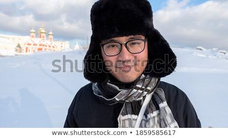 Genç Asya adam gözlük eşarp Stok fotoğraf © deandrobot