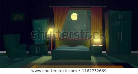 Ay ışığı boş oda 3d render boş yatak odası parlak Stok fotoğraf © albund