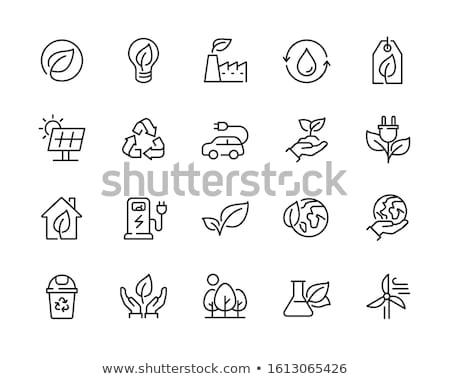respectueux · de · l'environnement · ligne · icône · vecteur · isolé · blanche - photo stock © rastudio