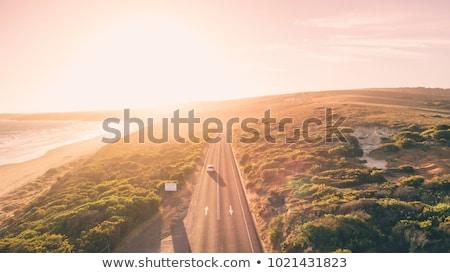 luchtfoto · auto · weg · zonsondergang · platteland · punt - stockfoto © stevanovicigor
