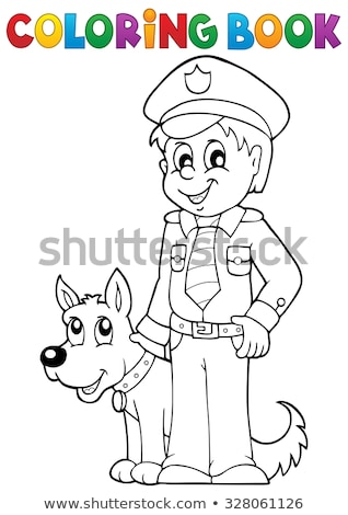 Coloring book with police dog Stock photo © clairev