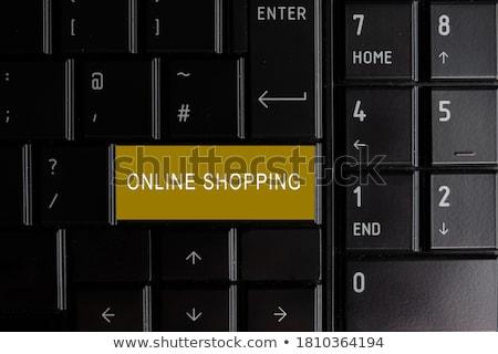 Citromsárga online bolt numerikus billentyűzet billentyűzet 3D fémes Stock fotó © tashatuvango