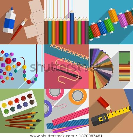 Csináld magad szerszámok kellékek művészet szövet minta Stock fotó © nessokv