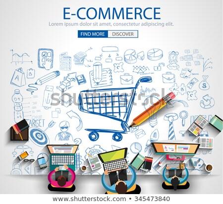 e commerce solution concept with doodle design icons stock photo © tashatuvango
