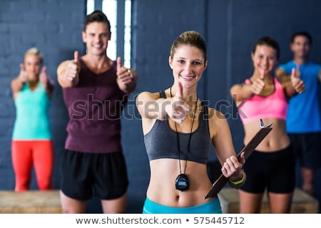 atleta · homem · clipboard · ginásio · retrato · escrita - foto stock © wavebreak_media
