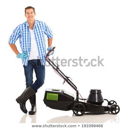 Portrait man standing by lawn mower Stock photo © IS2