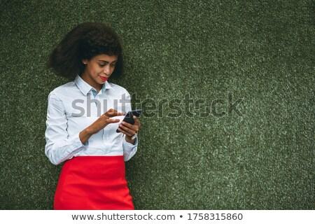 Nő áll fű zöld iroda természet Stock fotó © IS2