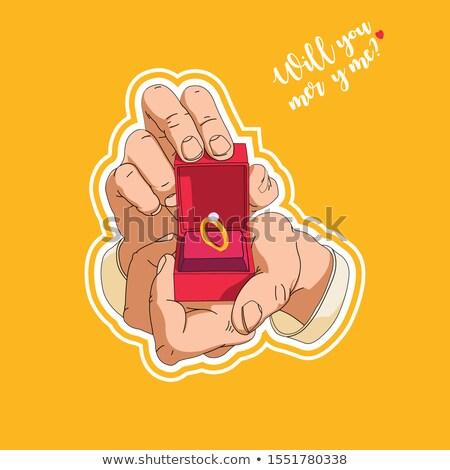 Eljegyzési gyűrű doboz kéz illusztráció ezüst kék Stock fotó © robuart
