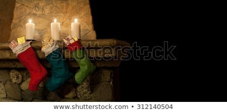 Рождества зеленый чулок подвесной камин красный Сток-фото © saje