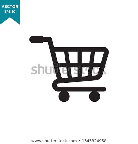 Sziluett kosár online bolt ikon bevásárlókocsi lineáris Stock fotó © Olena