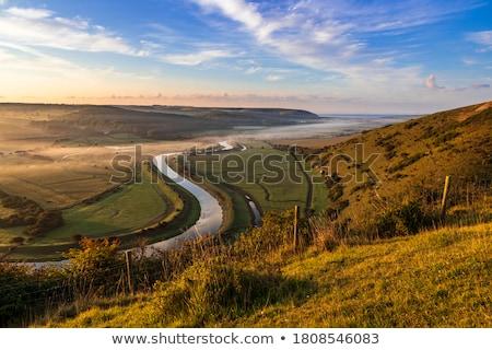 Reggel lefelé völgy tavasz tájkép égbolt Stock fotó © mpessaris