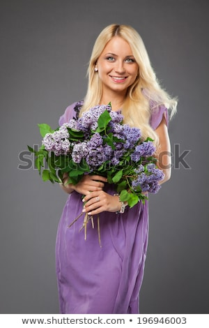 Beauty fashion model girl with lilac flowers Stock photo © arturkurjan