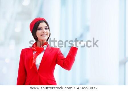肖像 小さな スチュワーデス 笑みを浮かべて 飛行機 女性 ストックフォト © AndreyPopov