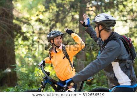 Motoros pár biciklizik vidék útvonal nő Stock fotó © wavebreak_media