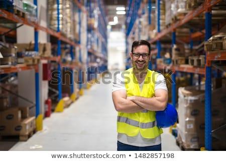 Stock fotó: Raktár · munkás · áll · targonca · boldog · munka