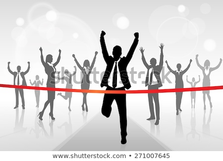 Businessman Crossing Red Ribbon Line Vector. Business Achievement. Successful Manager. First. Isolat Stock photo © pikepicture