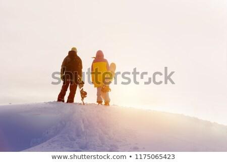 Masculino esquiador em pé topo montanha céu Foto stock © IS2