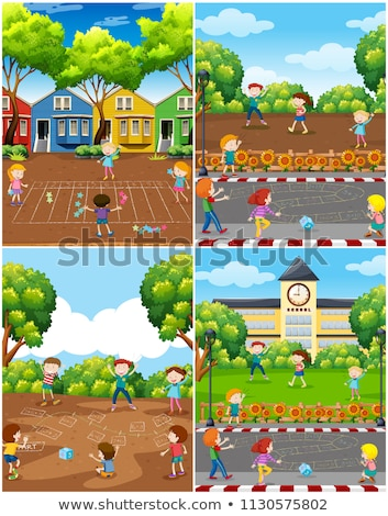 Stock photo: Children Play Math Game at Park