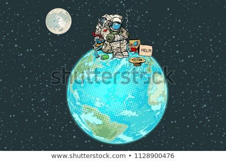 宇宙飛行士 ヘルプ スペース ポップアート レトロな ヴィンテージ ストックフォト © studiostoks