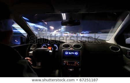 ストックフォト: 男 · 運転 · 車 · 移動 · 高速 · 道路