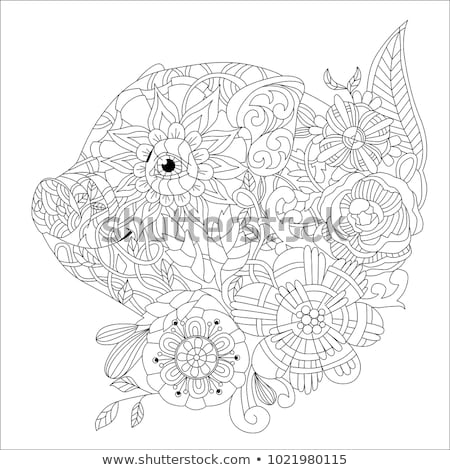 Zentangle drawing pig with flower for decoration stock photo © Natalia_1947