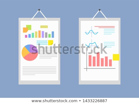 pair of big white papers with collection of charts stock photo © robuart