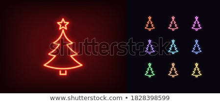 Noel ağacı neon kış tatil tanıtım ışık Stok fotoğraf © Anna_leni
