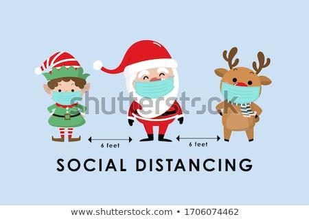Renifer christmas czerwony powyżej podpisania Zdjęcia stock © Krisdog