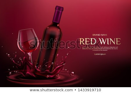 Red Wine Poster Bottle Burgundy Merlot and Glass Stock photo © robuart
