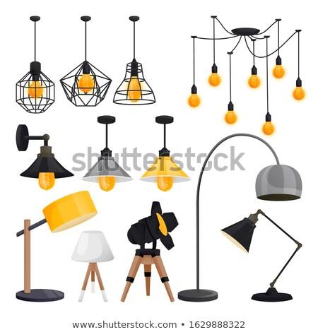 Set edison retro lamp on loft wooden wall background Stock photo © ruslanshramko