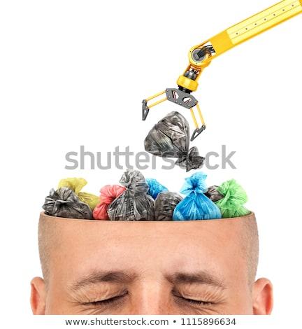 Vuilnis hoofd onzin hersenen Open ontwerp Stockfoto © MaryValery