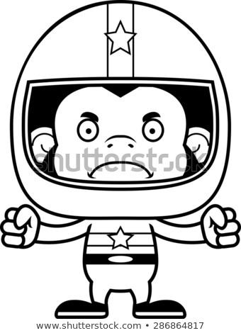 漫画 怒っ レースカー ドライバ チンパンジー 見える ストックフォト © cthoman