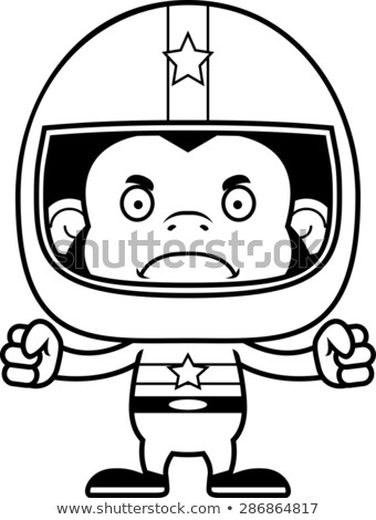 Cartoon Angry Race Car Driver Chimpanzee Stock photo © cthoman