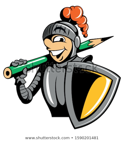 Cartoon knight holding a shield and a pencil Stock photo © bennerdesign