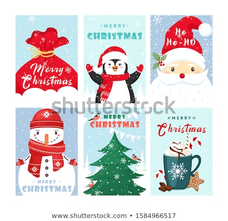 Christmas and New Year colorful bird greeting card Stock photo © cienpies