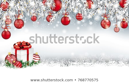 Christmas Frozen Twigs Snowfall Red Baubles Bow Banner Stock photo © limbi007