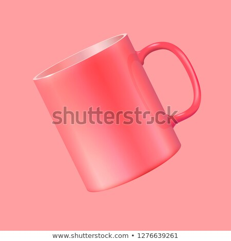 Tea cup hanging in the air. Realistic vector 3d illustration. Living Coral color 2019 Stock photo © ESSL