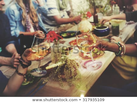 happy friends with drinks at summer picnic Stock photo © dolgachov